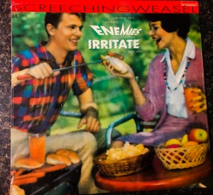 """A long ago sold out Lookout Records pressing of """"How to Make Enemies and Irritate People"""" awaiting Mike Dirnt's autograph for the Save Sonic Iguana Kickstarter campaign."""
